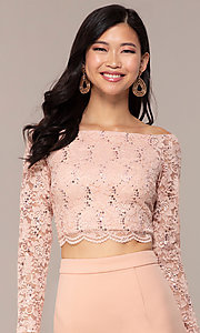 Image of three-quarter-sleeve long two-piece prom dress. Style: MCR-PL-2646 Detail Image 6