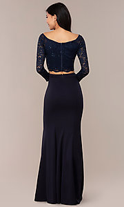 Image of three-quarter-sleeve long two-piece prom dress. Style: MCR-PL-2646 Back Image