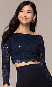 Image of three-quarter-sleeve long two-piece prom dress. Style: MCR-PL-2646 Detail Image 1