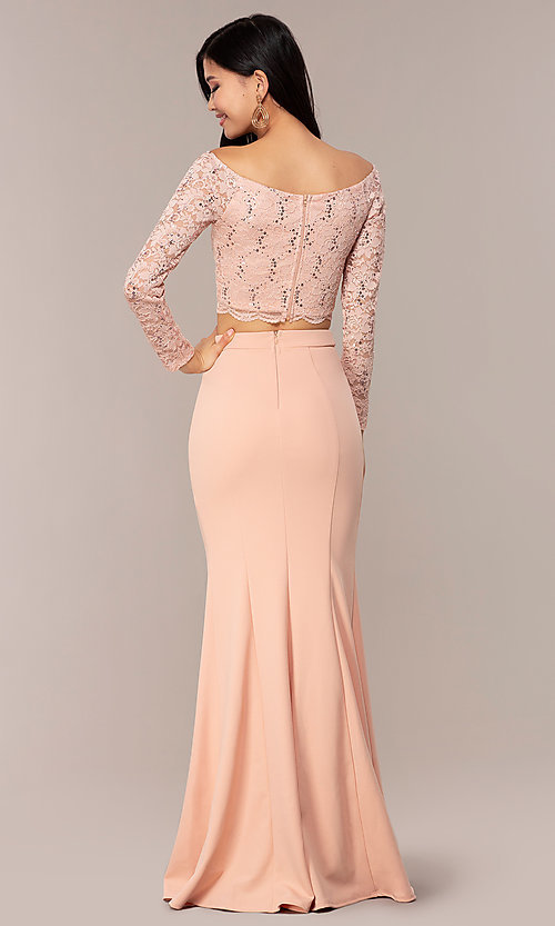 Image of three-quarter-sleeve long two-piece prom dress. Style: MCR-PL-2646 Detail Image 5