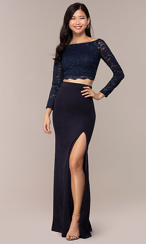 Image of three-quarter-sleeve long two-piece prom dress. Style: MCR-PL-2646 Front Image