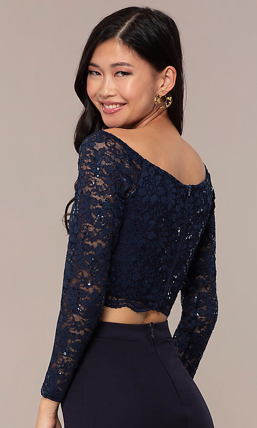 Image of three-quarter-sleeve long two-piece prom dress. Style: MCR-PL-2646 Detail Image 2