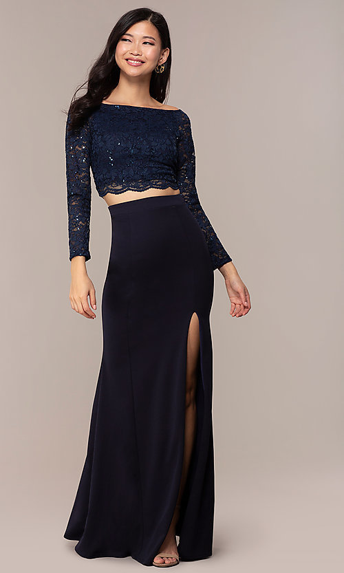 Image of three-quarter-sleeve long two-piece prom dress. Style: MCR-PL-2646 Detail Image 3