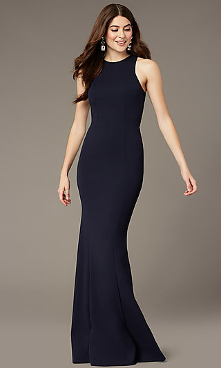 High-Neck Navy Blue Long Formal Dress By Simply