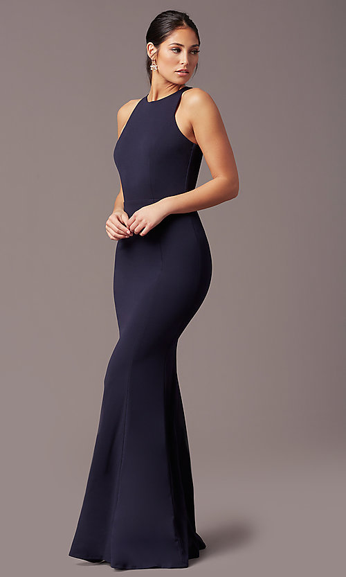 Image of high-neck navy blue long formal dress by Simply. Style: MCR-SD-2648 Front Image
