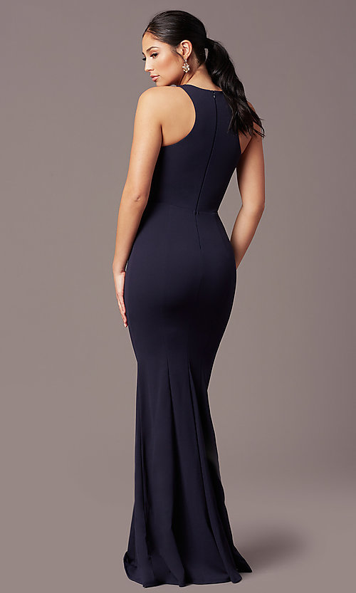 Image of high-neck navy blue long formal dress by Simply. Style: MCR-SD-2648 Back Image