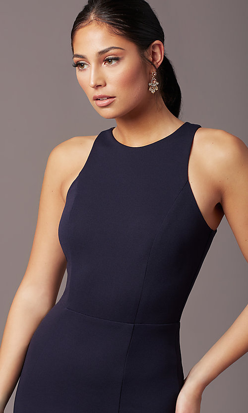 Image of high-neck navy blue long formal dress by Simply. Style: MCR-SD-2648 Detail Image 1
