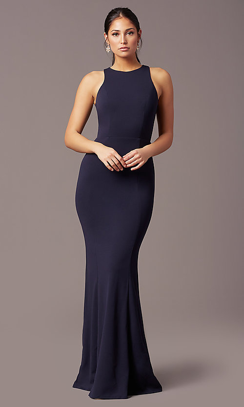 Image of high-neck navy blue long formal dress by Simply. Style: MCR-SD-2648 Detail Image 2