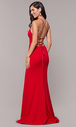 Formal Open-Back Long V-Neck Prom Dress by Simply