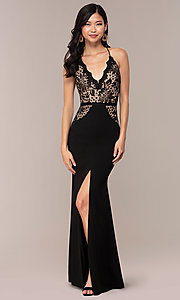 Image of long v-neck Simply prom dress with lace bodice. Style: MCR-SD-3048 Detail Image 3
