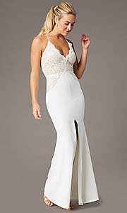 Image of long v-neck Simply prom dress with lace bodice. Style: MCR-SD-3048 Detail Image 4