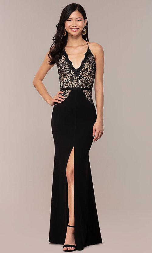 Image of long v-neck Simply prom dress with lace bodice. Style: MCR-SD-3048 Front Image