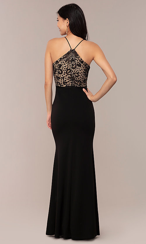 Image of long v-neck Simply prom dress with lace bodice. Style: MCR-SD-3048 Back Image