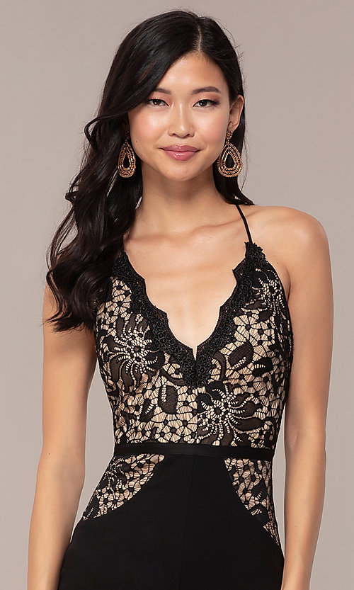 Image of long v-neck Simply prom dress with lace bodice. Style: MCR-SD-3048 Detail Image 1