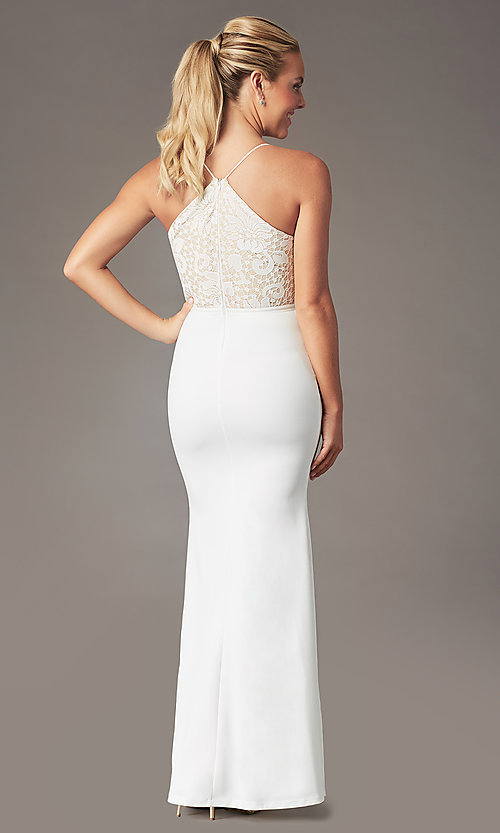Image of long v-neck Simply prom dress with lace bodice. Style: MCR-SD-3048 Detail Image 5