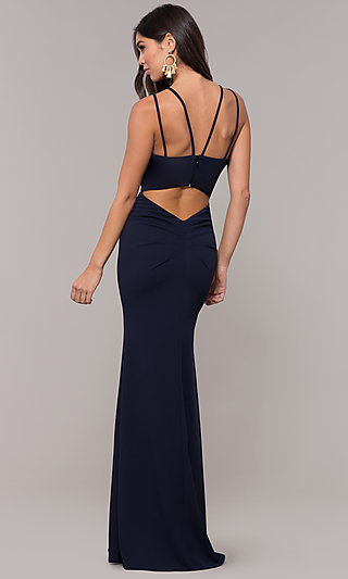 Jersey-Spandex Long V-Neck Formal Gown by Simply
