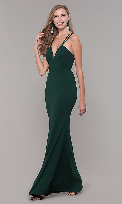 Image of jersey-spandex long v-neck formal gown by Simply. Style: MCR-SD-3049 Detail Image 5