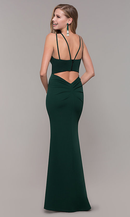 Image of jersey-spandex long v-neck formal gown by Simply. Style: MCR-SD-3049 Detail Image 4