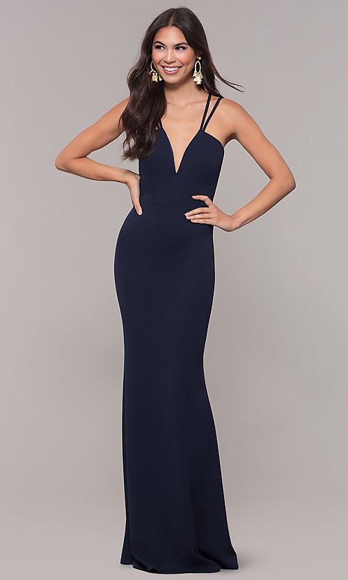 Image of jersey-spandex long v-neck formal gown by Simply. Style: MCR-SD-3049 Back Image