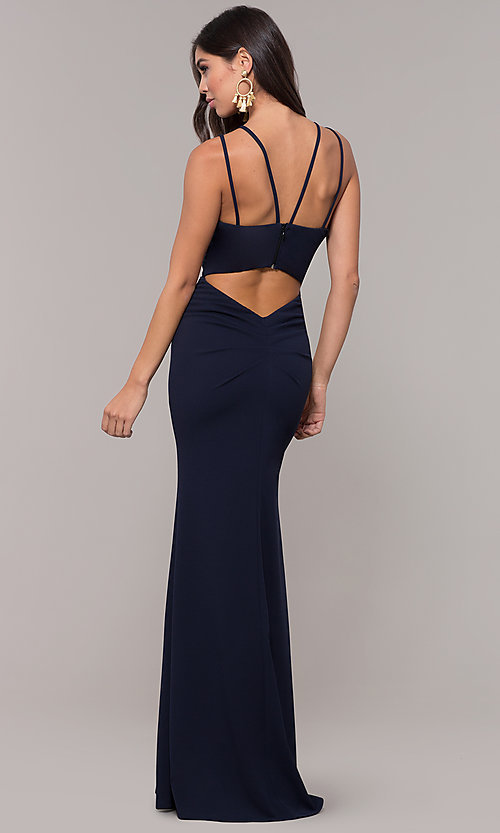 Image of jersey-spandex long v-neck formal gown by Simply. Style: MCR-SD-3049 Front Image
