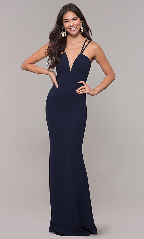 Image of jersey-spandex long v-neck formal gown by Simply. Style: MCR-SD-3049 Detail Image 3
