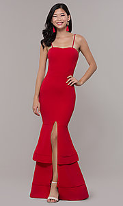 Image of red long formal prom dress by Simply. Style: MCR-SD-3046 Front Image