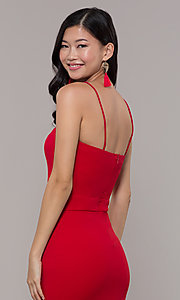 Image of red long formal prom dress by Simply. Style: MCR-SD-3046 Detail Image 2