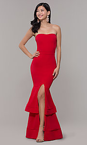 Image of red long formal prom dress by Simply. Style: MCR-SD-3046 Detail Image 4