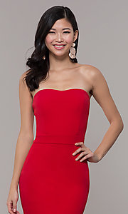 Image of red long formal prom dress by Simply. Style: MCR-SD-3046 Detail Image 6