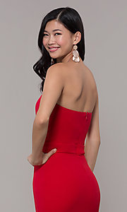 Image of red long formal prom dress by Simply. Style: MCR-SD-3046 Detail Image 7