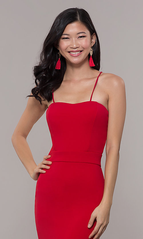 Image of red long formal prom dress by Simply. Style: MCR-SD-3046 Detail Image 1