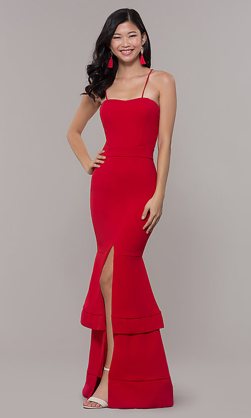 Image of red long formal prom dress by Simply. Style: MCR-SD-3046 Detail Image 3