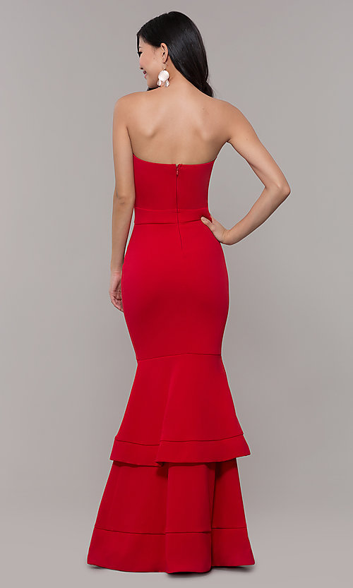 Image of red long formal prom dress by Simply. Style: MCR-SD-3046 Detail Image 5