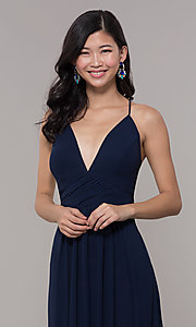 Image of v-neck long chiffon open-back prom dress by Simply. Style: MCR-SD-3047 Detail Image 1