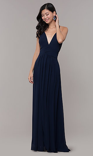 V-Neck Long Chiffon Open-Back Prom Dress by Simply