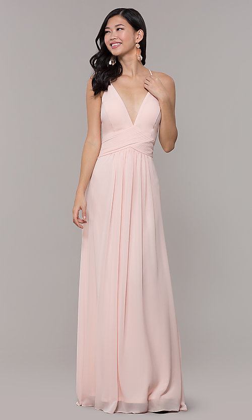 Image of v-neck long chiffon open-back prom dress by Simply. Style: MCR-SD-3047 Detail Image 4