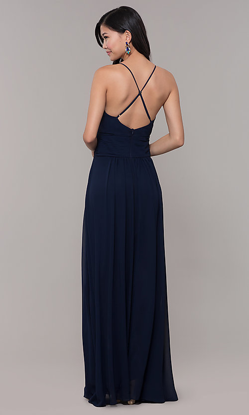 Image of v-neck long chiffon open-back prom dress by Simply. Style: MCR-SD-3047 Back Image