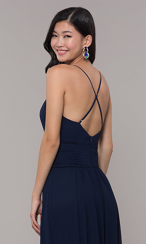 Image of v-neck long chiffon open-back prom dress by Simply. Style: MCR-SD-3047 Detail Image 2