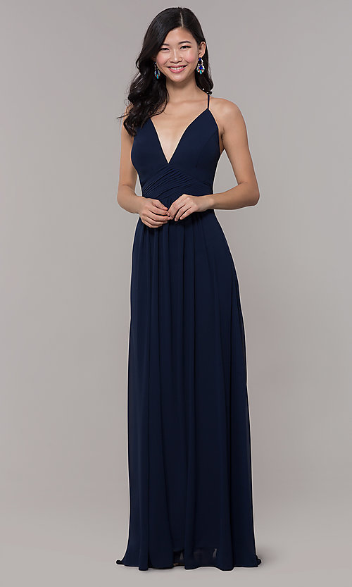 Image of v-neck long chiffon open-back prom dress by Simply. Style: MCR-SD-3047 Detail Image 3