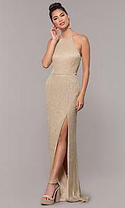 Image of high-neck long gold formal dress. Style: MCR-PL-2644 Front Image