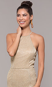 Image of high-neck long gold formal dress. Style: MCR-PL-2644 Detail Image 1