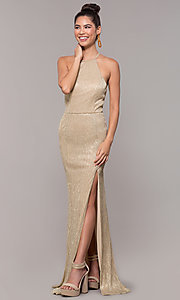 Image of high-neck long gold formal dress. Style: MCR-PL-2644 Detail Image 3