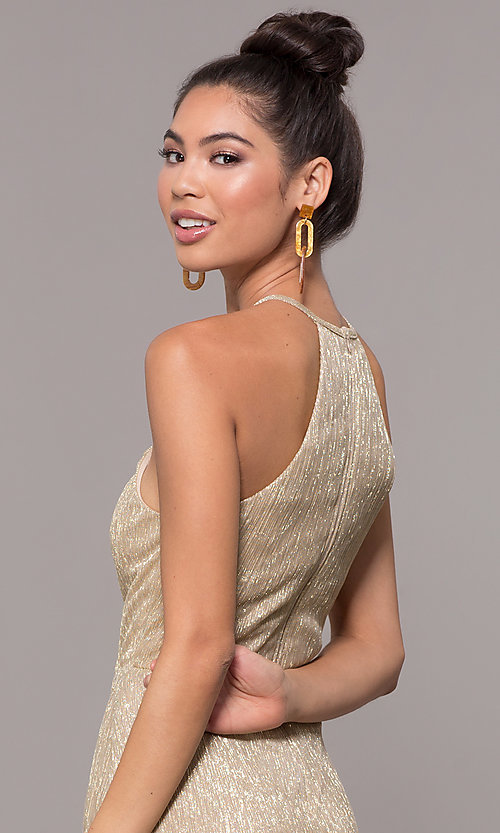 Image of high-neck long gold formal dress. Style: MCR-PL-2644 Detail Image 2