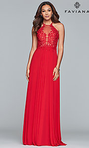 Image of long high-neck Faviana prom dress with embroidery. Style: FA-S10203 Detail Image 5
