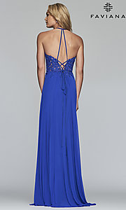 Image of long high-neck Faviana prom dress with embroidery. Style: FA-S10203 Detail Image 4