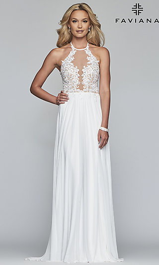 Long High-Neck Faviana Prom Dress with Embroidery