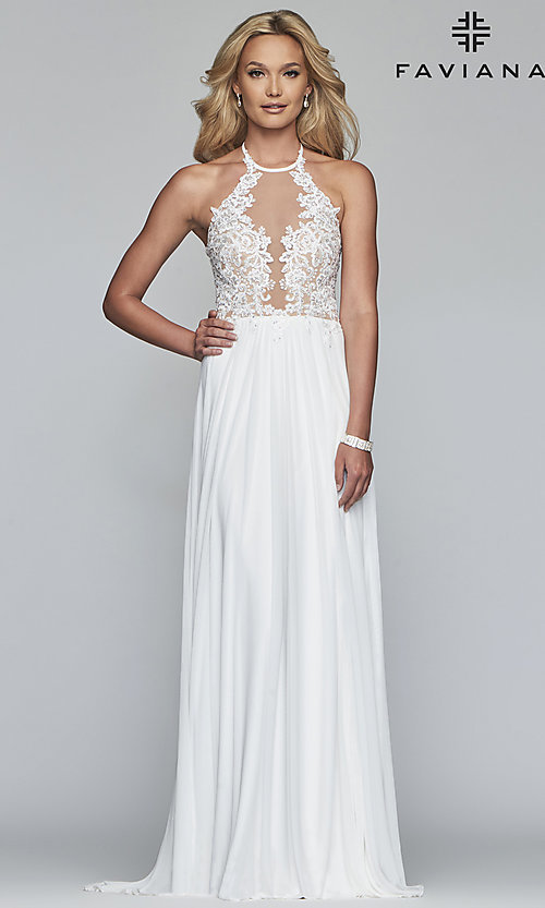 Image of long high-neck Faviana prom dress with embroidery. Style: FA-S10203 Front Image