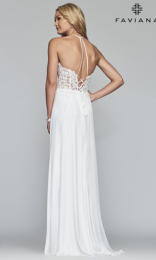 Image of long high-neck Faviana prom dress with embroidery. Style: FA-S10203 Back Image