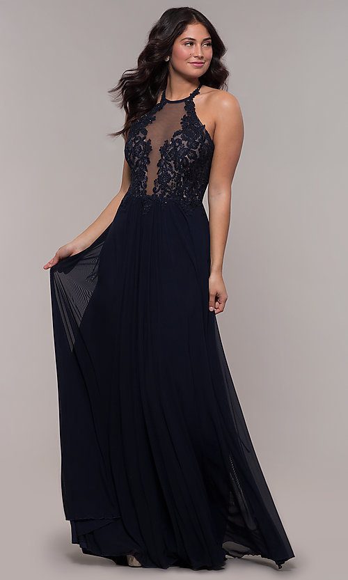Image of long high-neck Faviana prom dress with embroidery. Style: FA-S10203 Detail Image 7