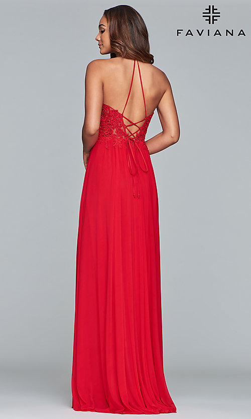 Image of long high-neck Faviana prom dress with embroidery. Style: FA-S10203 Detail Image 6